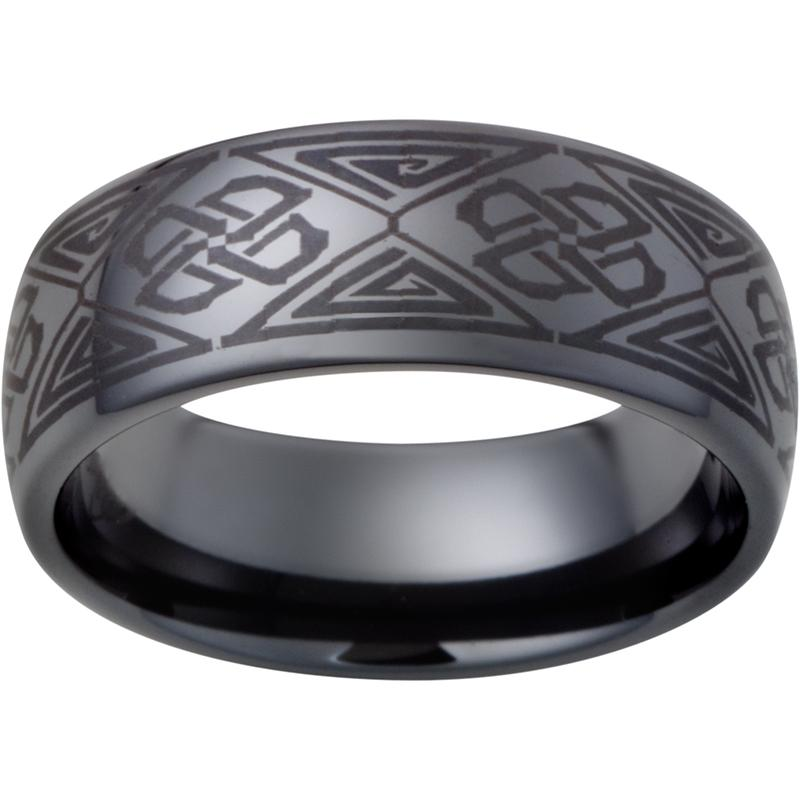 Black Diamond Ceramic™ Domed Band with Diamond Pattern Laser Engraving