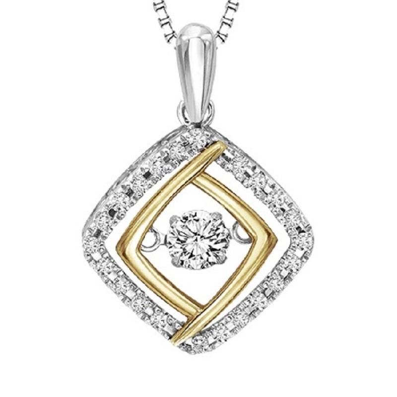 Silver 10k yellow diamond rhythm of love pendant 13 ctw aloadofball Image collections