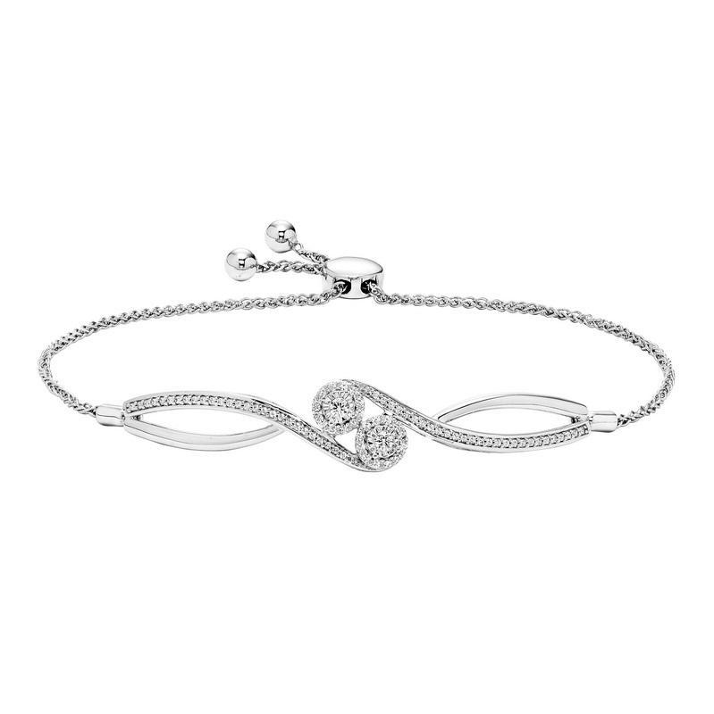 10K Diamond Two Stone Bolo Bracelet 1/3 ctw