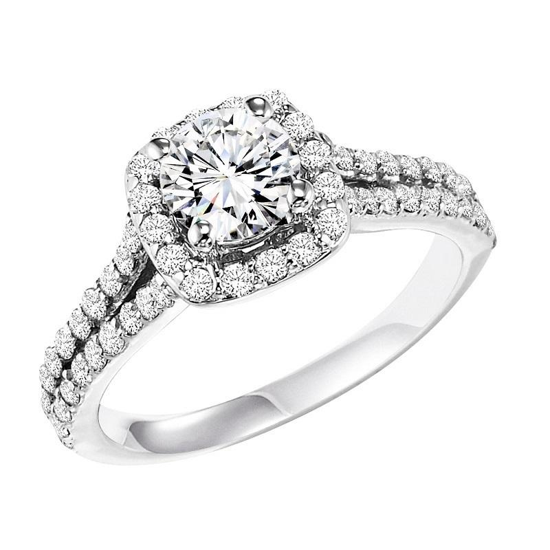 14K Diamond Engagement Ring 3/4 ctw With 3/4 ct Center Diamond