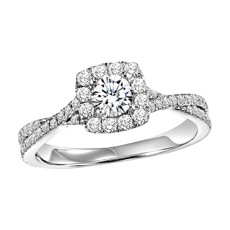 14K Diamond Engagement Ring 3/8 ctw with 1/3 ct Center