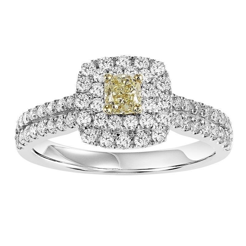 14K Diamond Engagement Ring 1 ctw With 1/3 Yellow Diamond Center