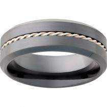 Black Diamond Ceramic™ Beveled Edge Band with 1mm Twisted Sterling Silver Inlay