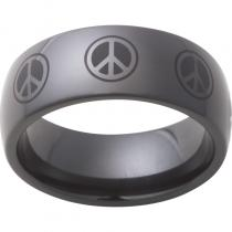 Black Diamond Ceramic™ Domed Band with Peace Sign Laser Engraving