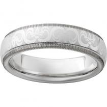 Serinium® Domed Grooved Edge Band with Fleur De Lis Laser Engraving and Milgrain Edge