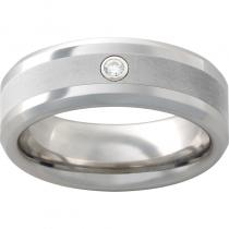 Serinium® Beveled Edge Band with 4mm Laser Satin Center and 6 Point Diamond