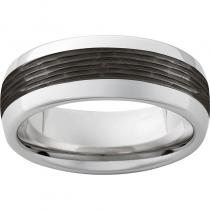 Serinium® Domed Band with Bark Finished Black Ceramic Inlay