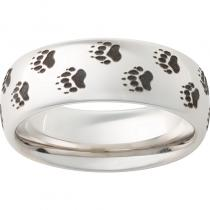 Serinium® Domed Band with Bear Track Laser Engraving