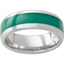 Serinium® Domed Band with Green Inlay