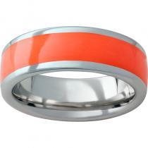 Serinium® Domed Band with Orange Inlay