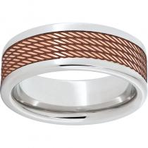 Serinium® Pipe Cut Band with Copper Inlay and Cable Laser Engraving