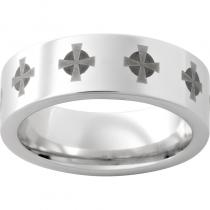 Serinium® Pipe Cut Band with Celtic Cross Laser Engraving