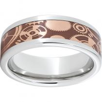 Serinium® Pipe Cut Band with Copper Inlay and Gears Laser Engraving