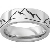 Serinium® Pipe Cut Band with Mountain Range Laser Engraving