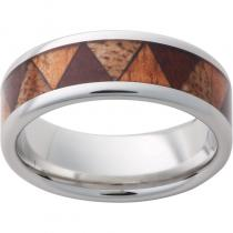 Serinium® Pipe Cut Band with Exotic Koa Wood, Milo Wood & Mango Wood Inlay