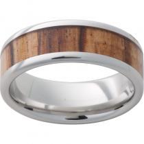 Serinium® Pipe Cut Band with Exotic Zebra Wood Inlay
