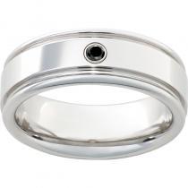 Serinium® Rounded Edge Band with One .06 Round Black Diamond and Polish Finish
