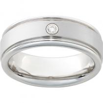 Serinium® Rounded Edge Band with One .06 Brilliant Round Diamond with a Satin Finish