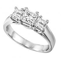 14K P/Cut Diamond 3 Stone Ring 2 ctw