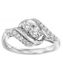 14K Diamond Two Stone Pendant 1/2 ctw