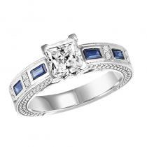 14K Sapphire & Diamond Ring With 1 ct Center Diamond