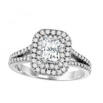 14K Diamond Engagement Ring With Accent Sapphires 5/8 gtw