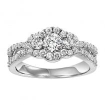 14K Diamond Engagement Ring 5/8 ctw with 1/3 ct Center