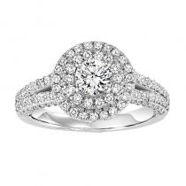 14K Diamond Engagement Ring 7/8 ctw With 1/2 ct Center