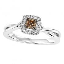 14K Diamond Engagement Ring 3/8 ctw including Brown Diamond Center