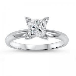14K P/Cut Diamond Solitaire Ring 1 ct
