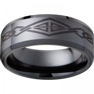 Black Diamond Ceramic™ Beveled Edge Band with Diamond Knot Laser Engraving