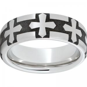 Serinium® Pipe Cut Band with Gothic Cross Laser Engraving