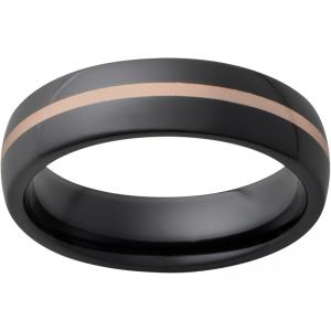 Black Diamond Ceramicô Domed Band with 1mm 14K Rose Gold Inlay