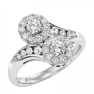 14K Diamond Two Stone Ring 1 ctw