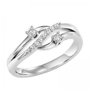 14K Diamond Two Stone Ring 1/7 ctw