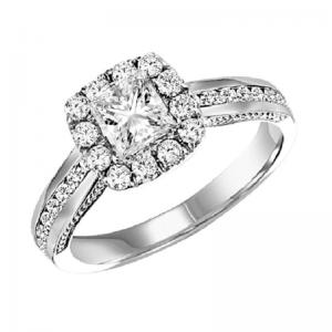 14K Diamond Engagement Ring 1/2 ctw with 1/2 ct Center
