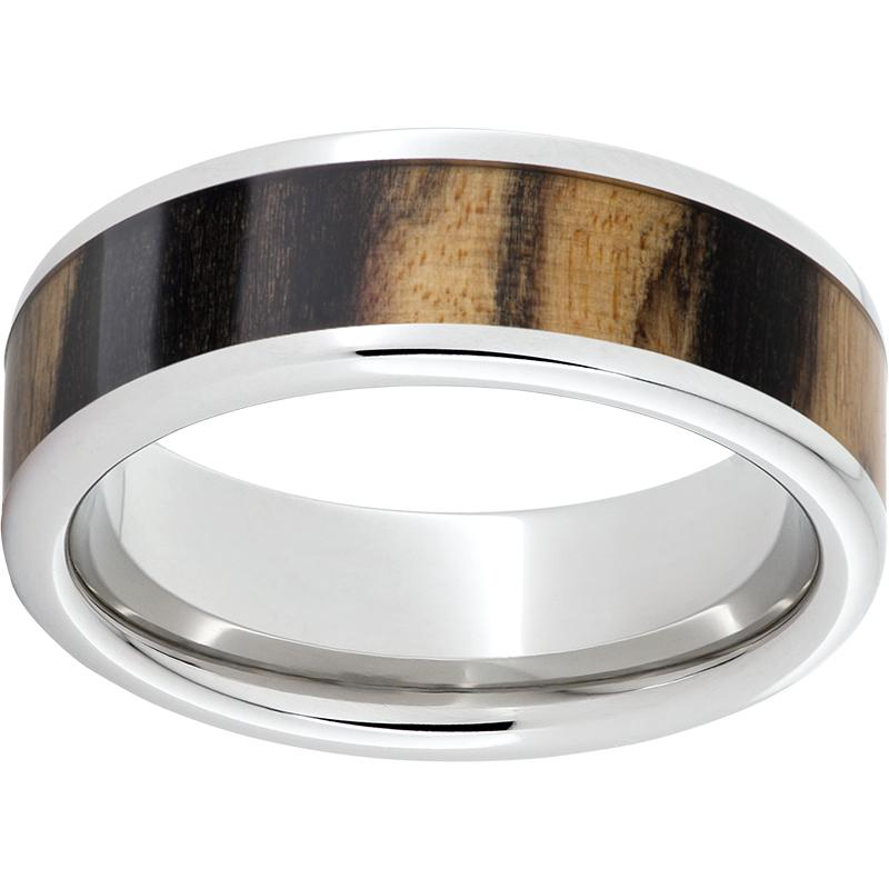 Serinium® Pipe Cut Band with Exotic Black and White Ebony Wood Inlay