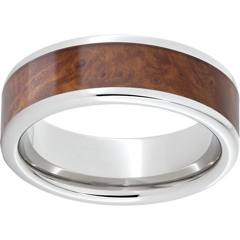 Serinium® Pipe Cut Band with Exotic Amboyna Burl Wood Inlay