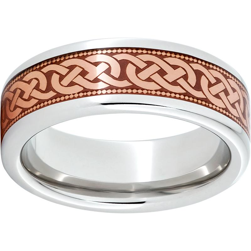 Serinium® Pipe Cut Band with Copper Inlay and 3 Knot Milgrain Laser Engraving
