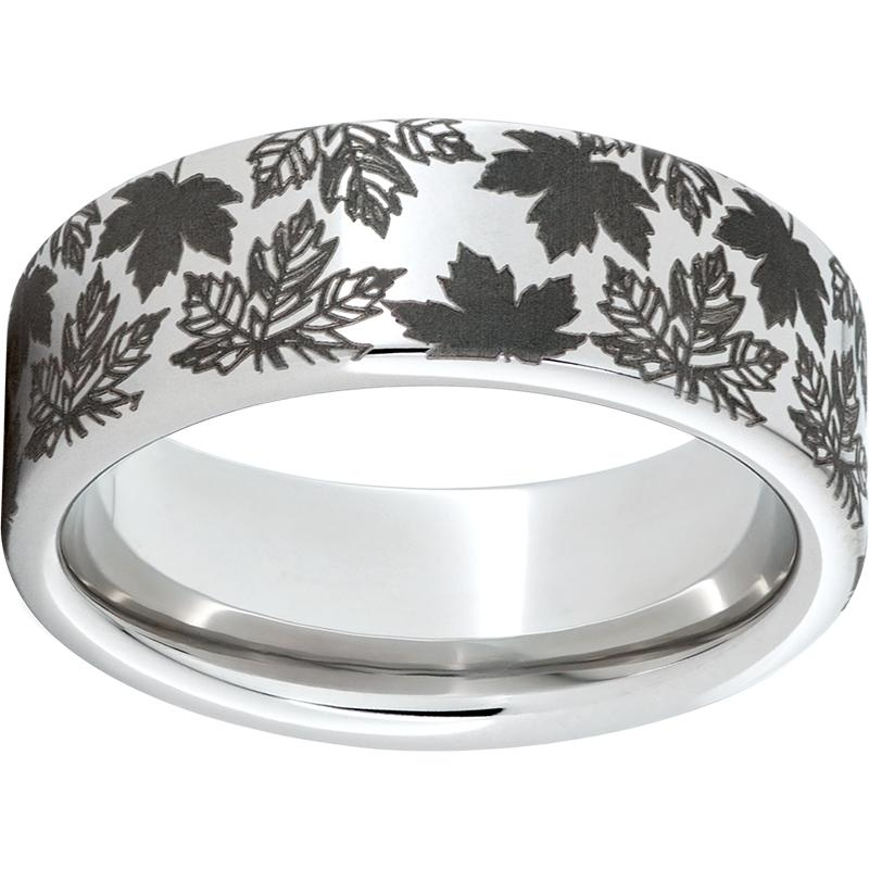 Serinium® Pipe Cut Band with Fall Foliage Laser Engraving
