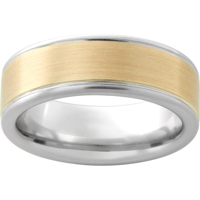 Serinium® Pipe Cut Band with 14K Yellow Gold Inlay