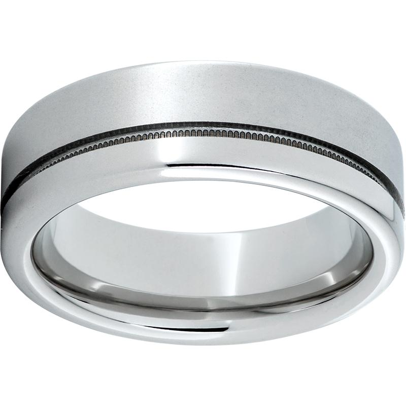Serinium® Pipe Cut Band with 1mm Off-Center Milgrain Groove, and Laser Satin Finish on Wide Edge