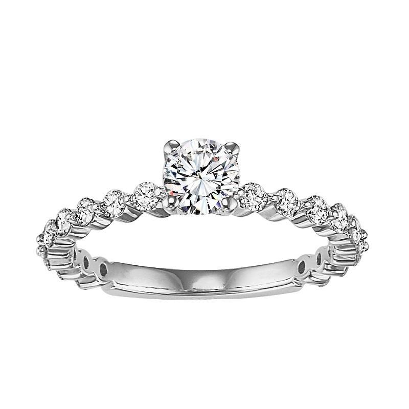 14K Diamond Engagement Ring 3/8 ctw with 5/8 ct Center
