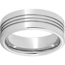 Serinium® Pipe Cut Band with Three .5mm Grooves and a Polish Finish