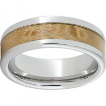 Serinium® Pipe Cut Band with Exotic Birds Eye Maple Wood Inlay