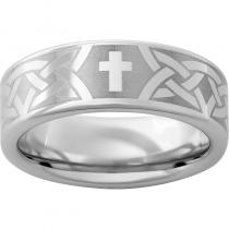Serinium® Pipe Cut Band with a Cross Knot Laser Engraving