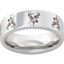 Serinium® Pipe Cut Band with Deer Head Laser Engraving