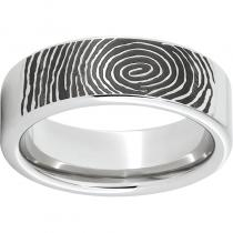 Serinium® Pipe Cut Band with Custom Fingerprint Laser Engraving