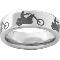 Serinium® Pipe Cut Band with Motorcycle Rider Laser Engraving