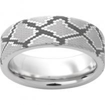 Serinium® Pipe Cut Band with Snake Skin Laser Engraving